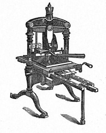 The Albion press was originally designed and manufactured in London by Richard Whittaker Cope around 1820 and continued to be manufactured, in a range of sizes, until the 1930s. They were used for commercial book printing until the middle of the nineteenth century when they were used more for proofing, jobbing work and in small private presses, but redundant machines were also eagerly sought by artist printmakers for woodblock, lino and type printing.