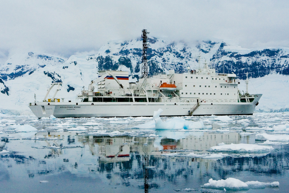 The Akademik Ioffe at anchor in Antarctica