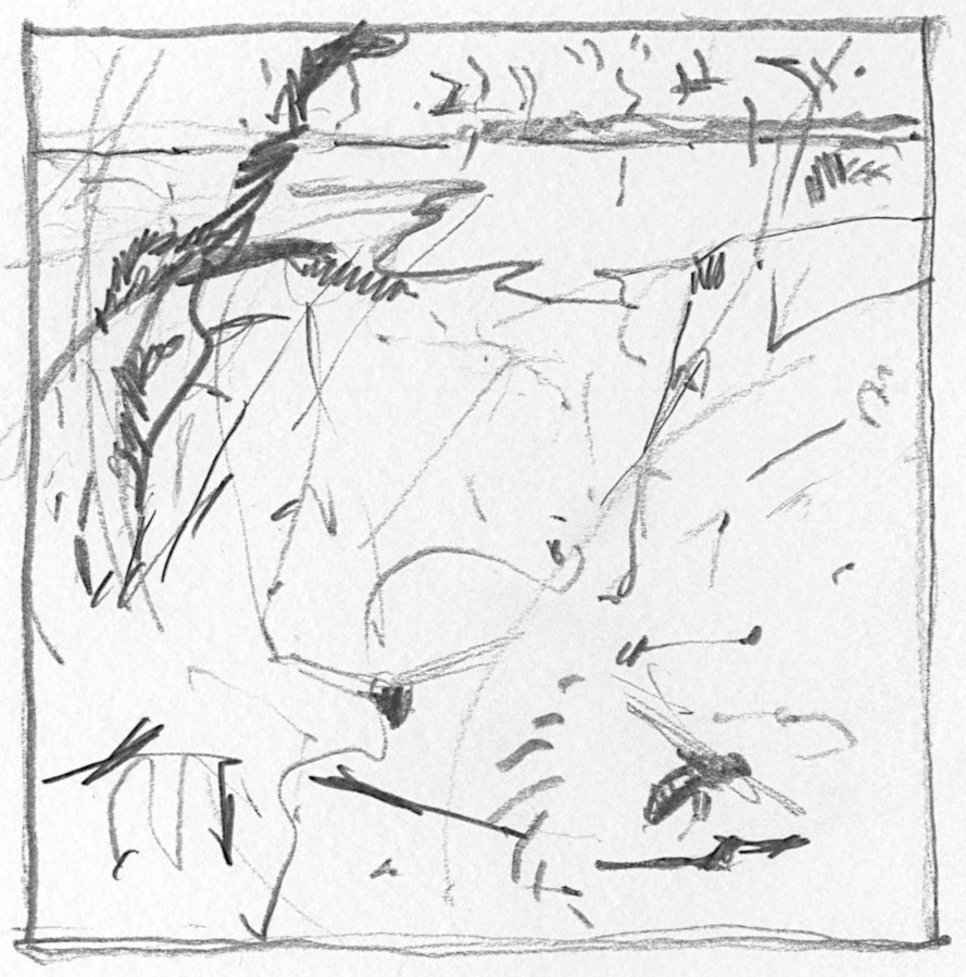 This is a very small drawing (about 10cm x 10cm).  The idea behind small thumbnail sketches like this is to try and strip out the essential elements in the experience  - the bees, the characteristics of the landscape, the light and passing curlews.  Then I try to simple assemble those bare fragments in a way that creates a more abstract interpretation of the habitat and its natural history.    Compressed ideas like this are a great resource to start working from later in the studio to try and create new work that captures the spirit of the original experience.