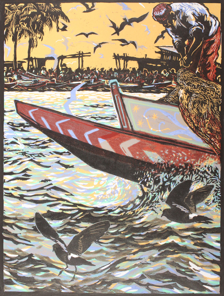 Senegal Shoreline.  Relief print